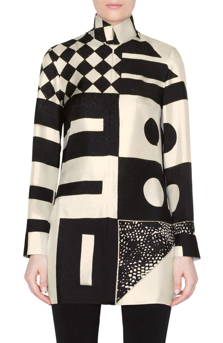 AKRIS Kaleidoscope Print Silk Crepe Tunic Blouse, Main, color, SWAN-BLACK