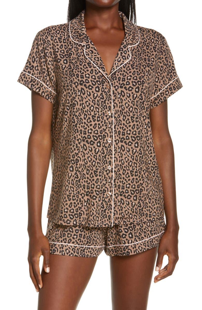 NORDSTROM LINGERIE Moonlight Short Pajamas, Main, color, BROWN BROWNIE ANIMAL PRINTS