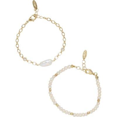 Ettika Set Of 2 Freshwater Pearl Bracelets