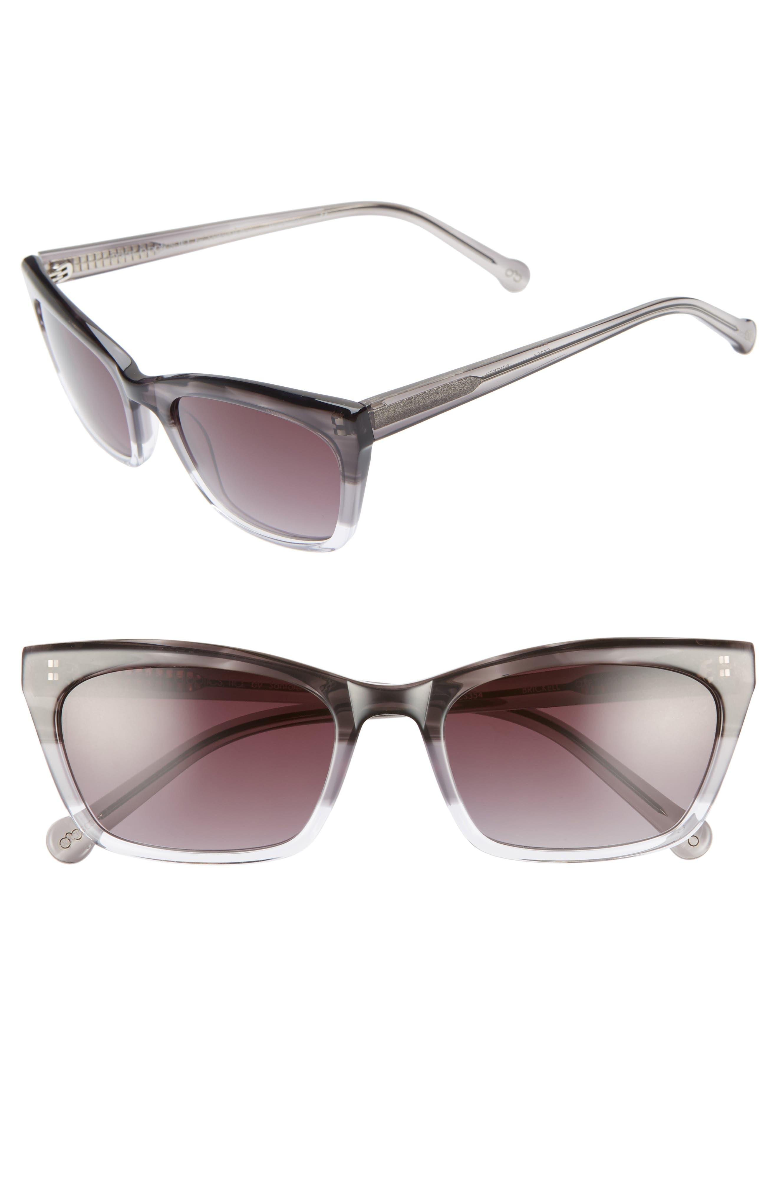 Brickell 55mm Gradient Cat Eye Sunglasses, Main, color, BLACK FADE/ GREY