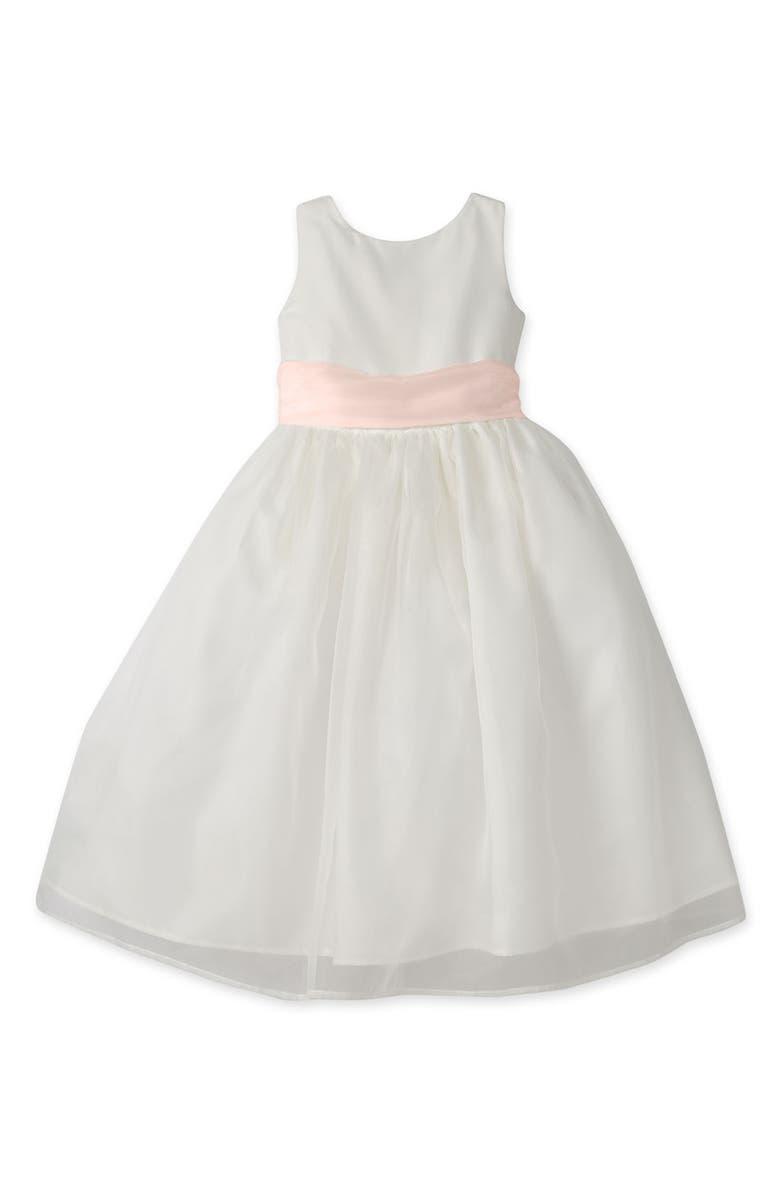 US ANGELS Sleeveless Organza Dress, Main, color, Ivory/ Blush Pink