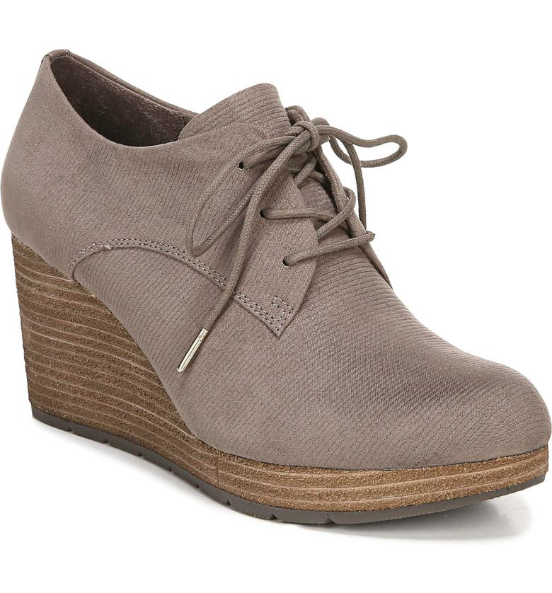 DR. SCHOLL'S Where To Wedge Bootie, Main, color, TAUPE GREY EMBOSSED FABRIC