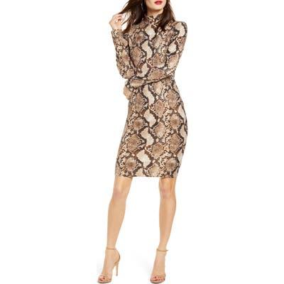 Leith Long Sleeve Body-Con Dress, Brown