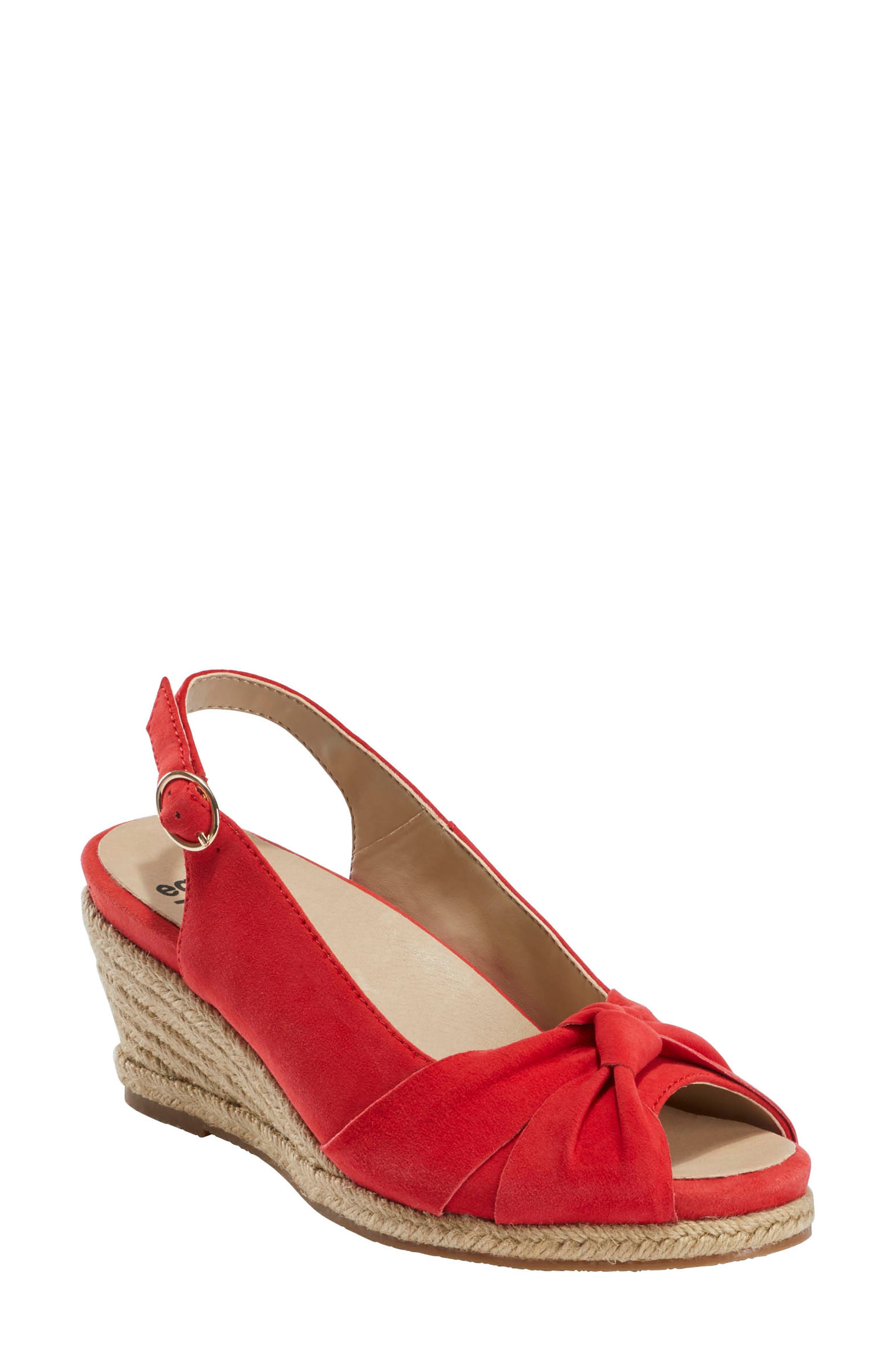 A contoured Powerpath footbed with arch support and foam cushioning offers serious comfort in this darling peep-toe on a summery espadrille wedge. Style Name: Earth Thara Bermuda Peep Toe Wedge Sandal (Women). Style Number: 6024479. Available in stores.