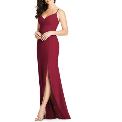 Dessy Collection Crisscross Seam Crepe Gown, Burgundy