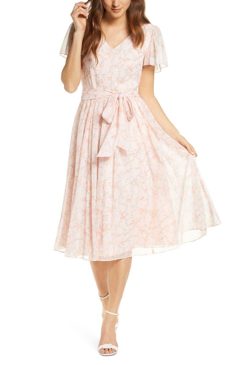 RACHEL PARCELL Floral A-Line Dress, Main, color, PINK FROSTY ELENOR FLORAL