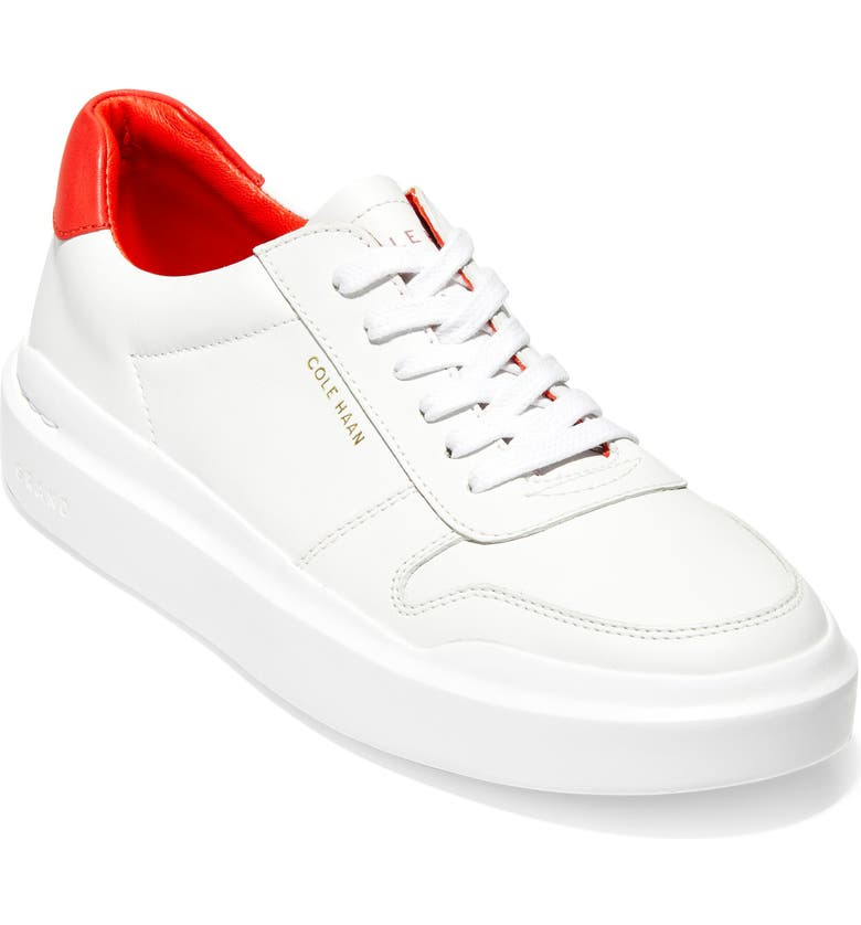 COLE HAAN GrandPro Rally Sneaker, Main, color, WHITE/ FLAME SCARLETT LEATHER