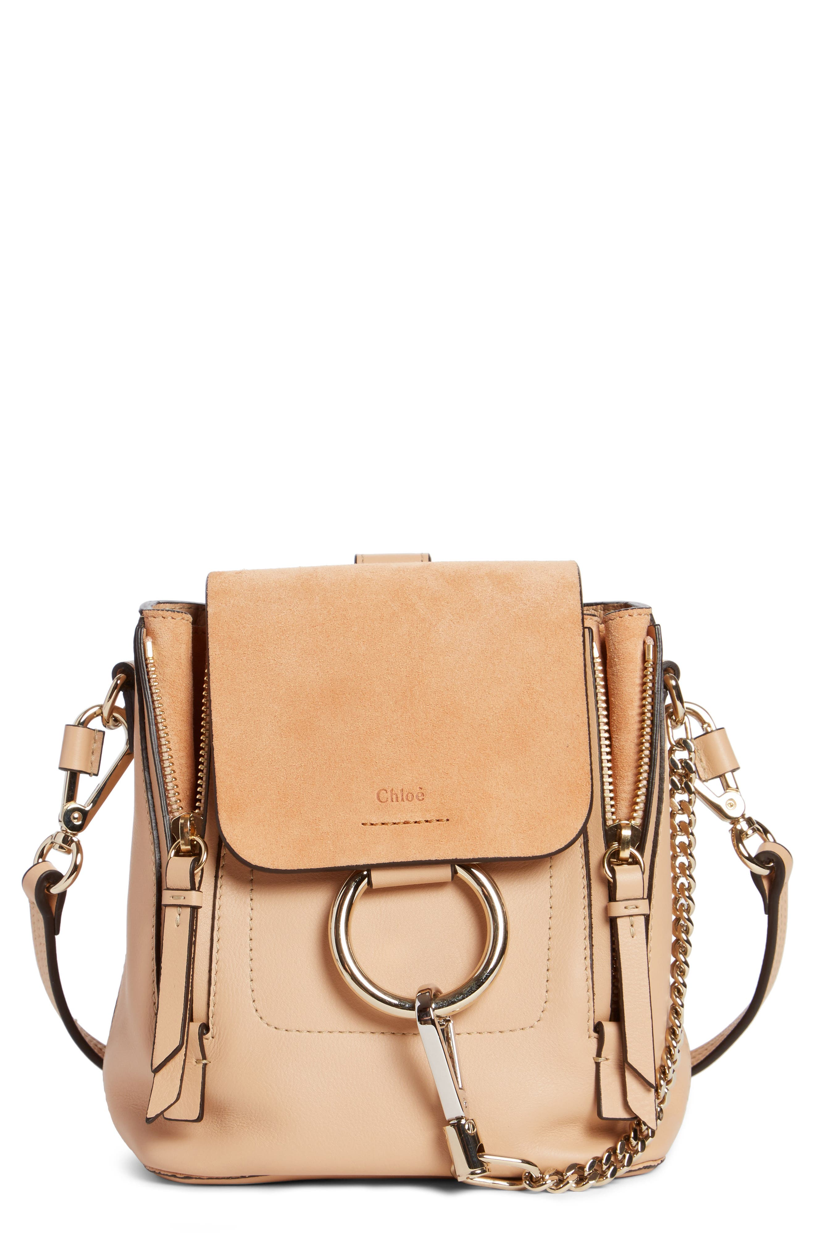 ,                             Mini Faye Leather & Suede Backpack,                             Main thumbnail 27, color,                             650