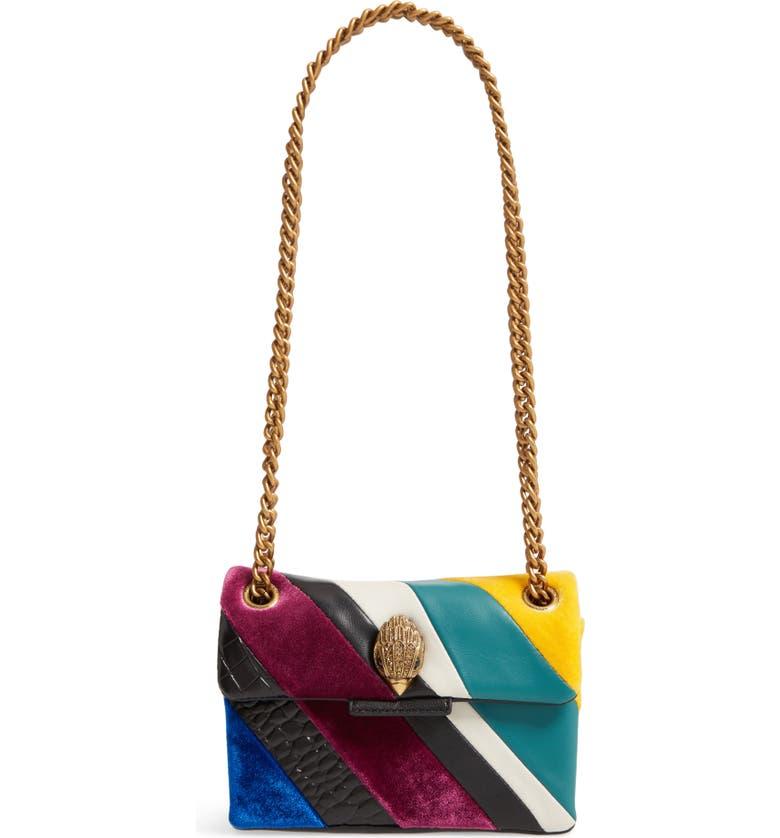 KURT GEIGER LONDON Mini Kensington Mixed Media Crossbody Bag, Main, color, BLK/GREEN