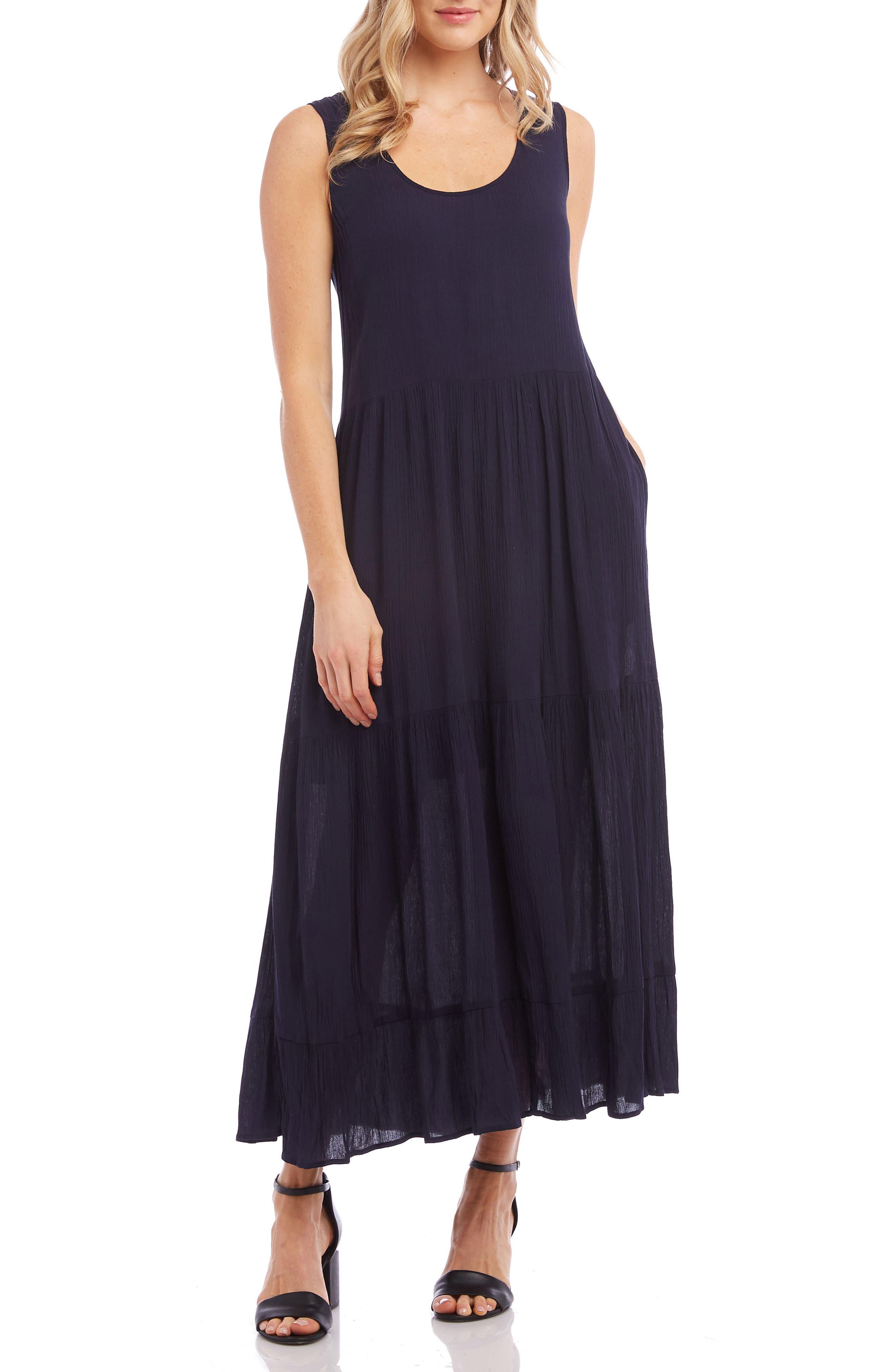 Karen Kane Tiered Midi Dress, Blue
