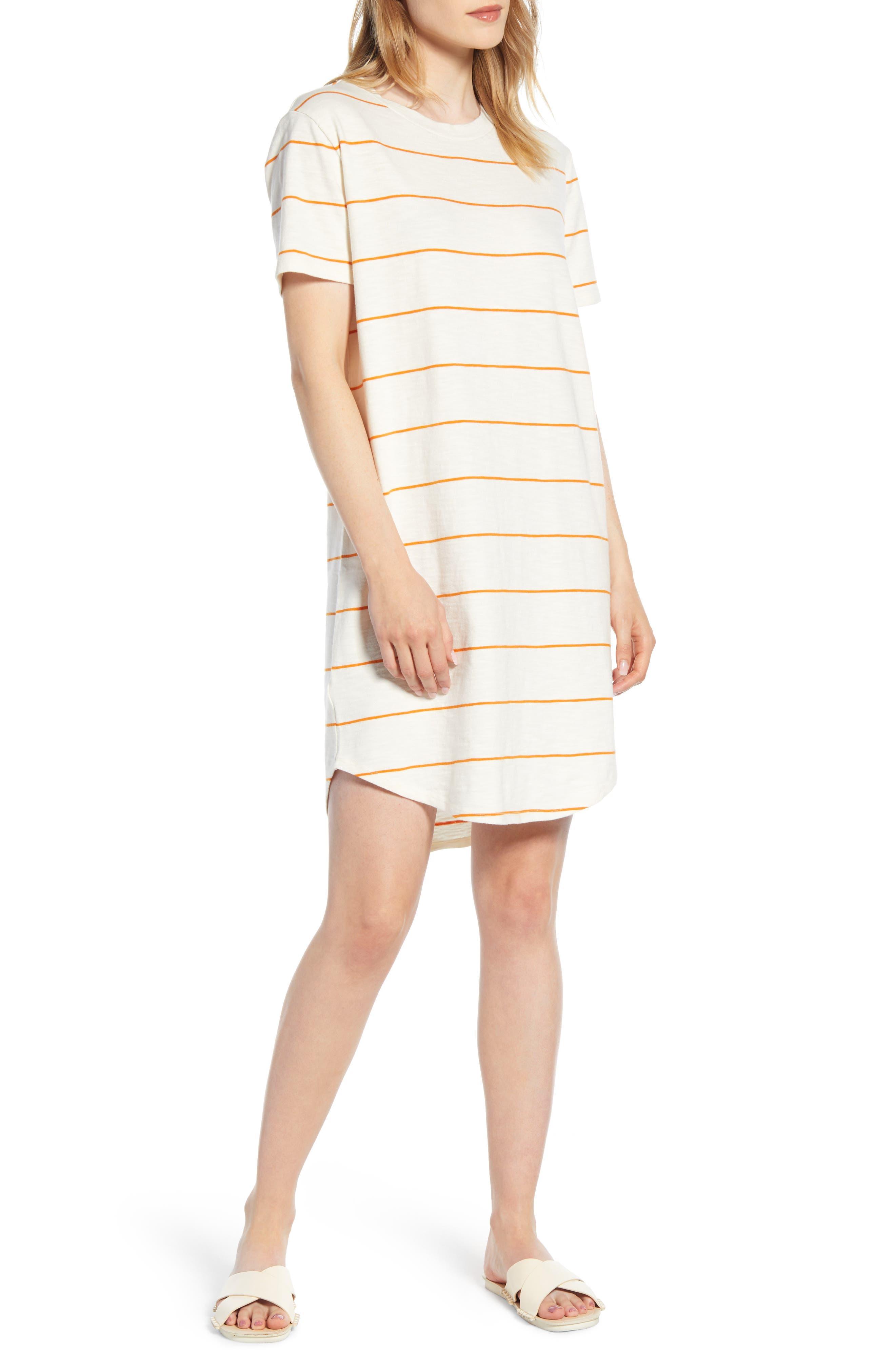 Lou & Grey Stripe Cozy Jersey T-Shirt Dress, Orange