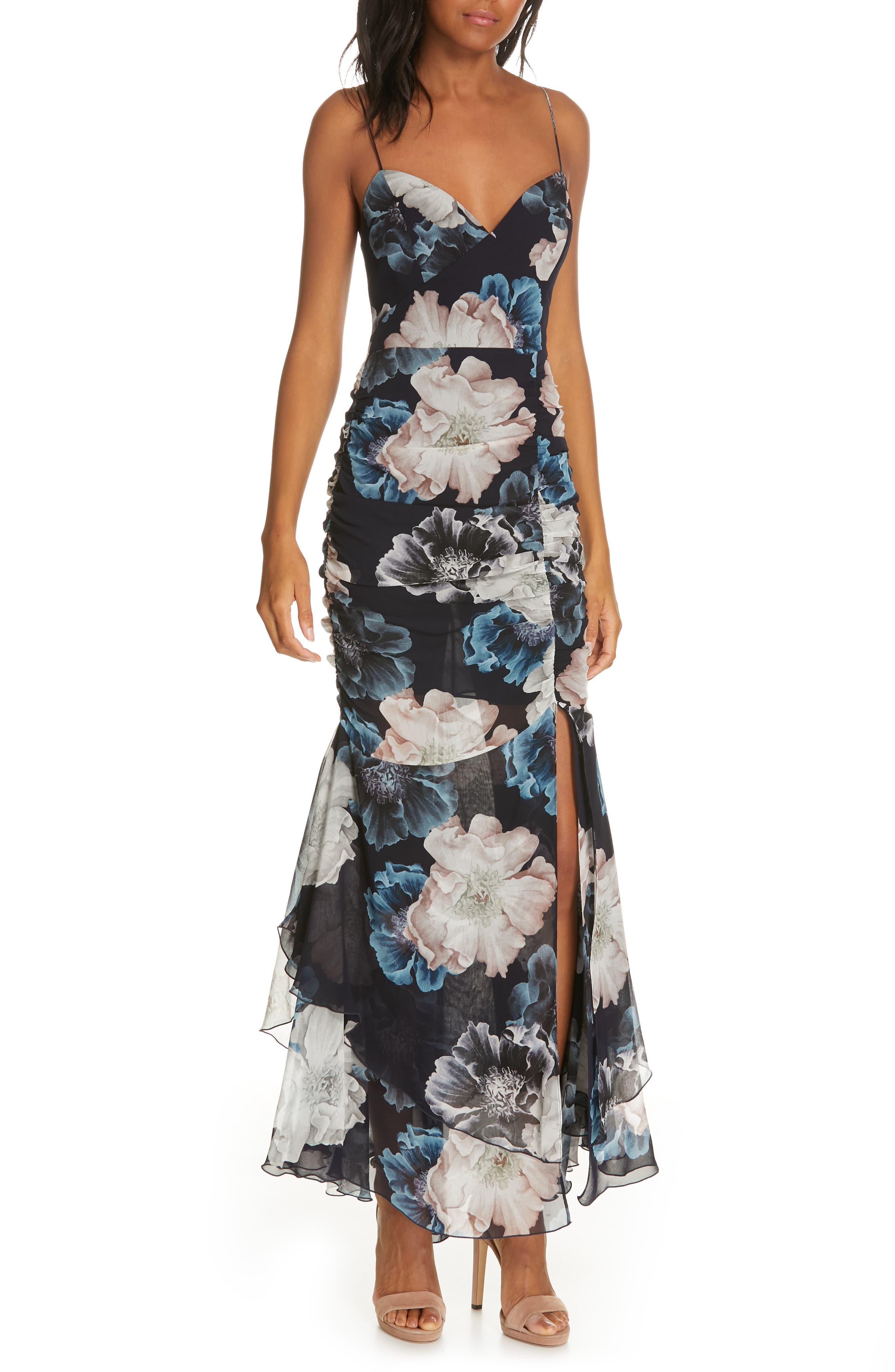 Nicholas Floral Ruched Silk Dress, Blue