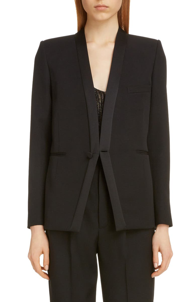 SAINT LAURENT Collarless Wool Tuxedo Jacket, Main, color, 001