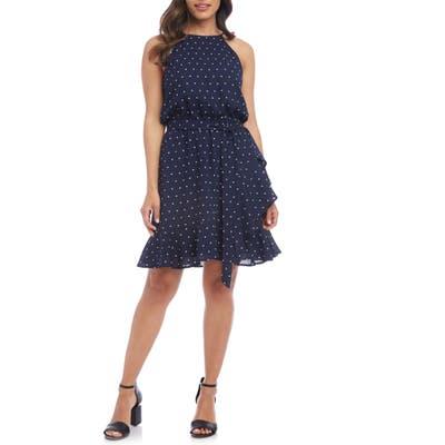 Karen Kane Sleeveless Ruffle Wrap Dress, Blue
