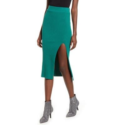 Leith Ribbed Side Slit Knit Skirt, Green