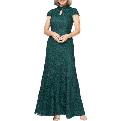 Petite Alex Evenings Mock Neck Beaded Lace Trumpet Gown, Green