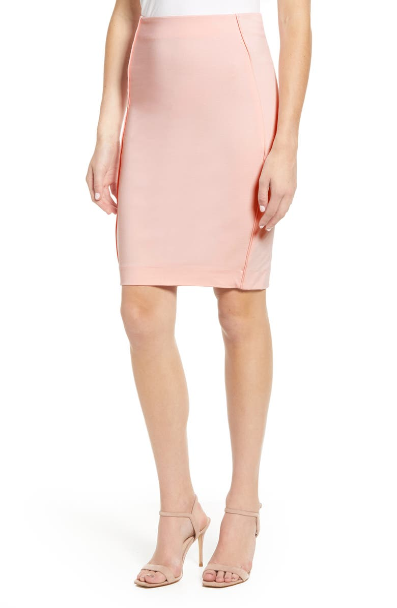 SENTIMENTAL NY Ponte Pencil Skirt, Main, color, ROSE PINK