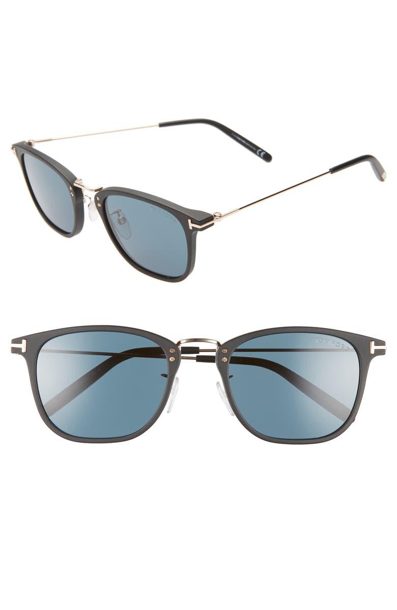 TOM FORD Beau 53mm Square Sunglasses, Main, color, BLACK/ BLUE