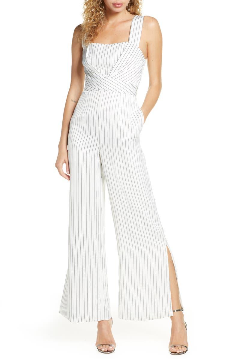 FOXIEDOX Stripe Slit Leg Jumpsuit, Main, color, WHITE/ BLACK