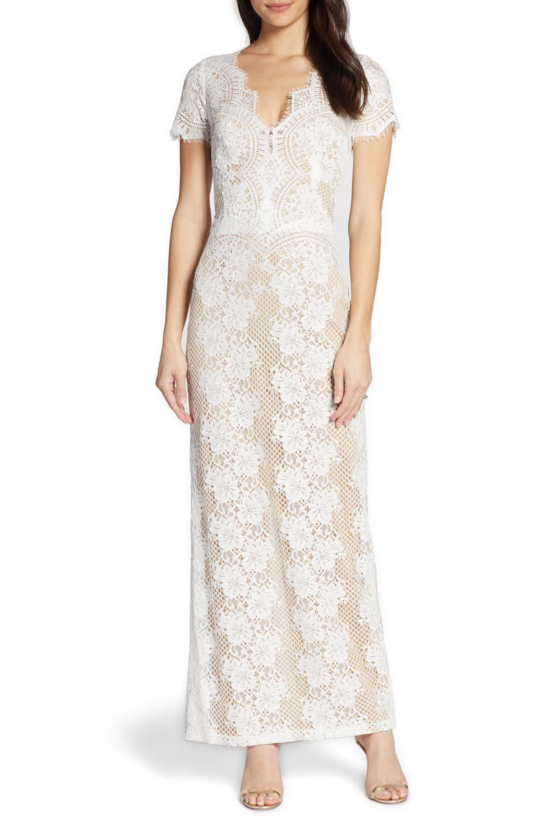 BY WATTERS Back Cutout Lace Sheath Wedding Dress, Main, color, IVORY
