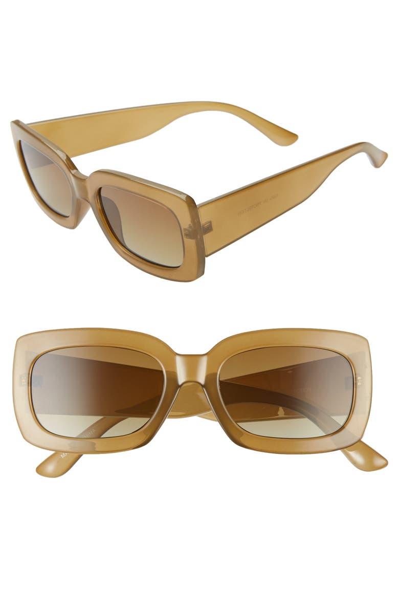 BP. 53mm Translucent Square Sunglasses, Main, color, MILKY OLIVE