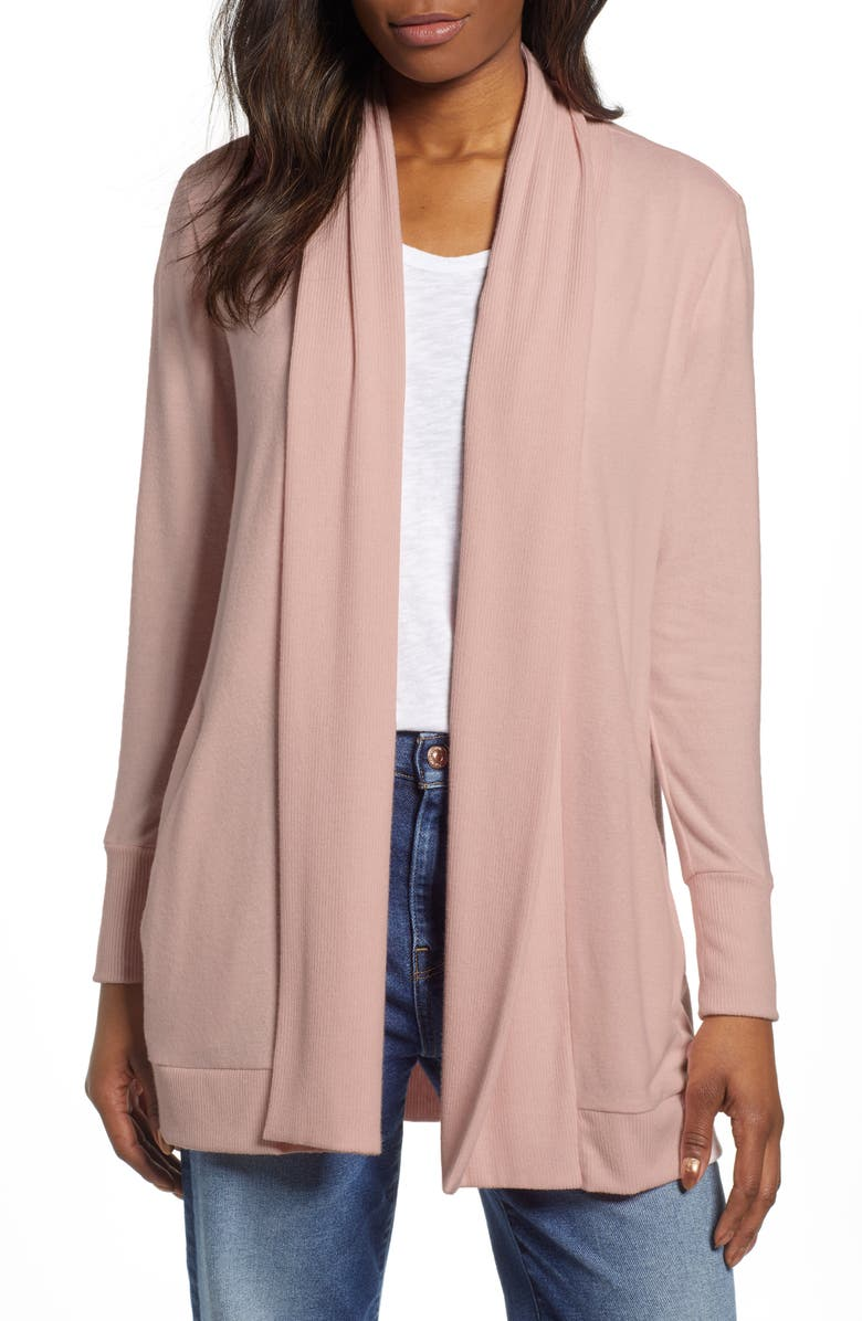 GIBSON Cozy Ribbed Cardigan, Main, color, DUSTY PINK