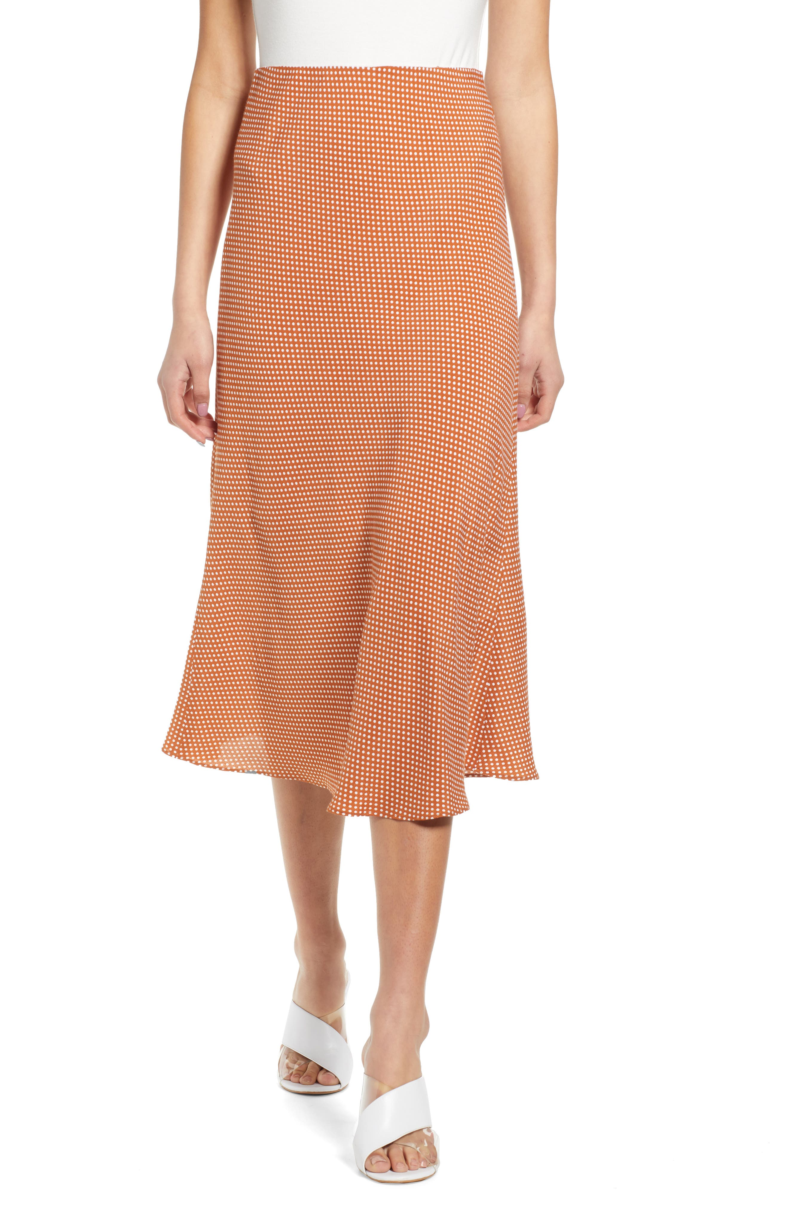 Leith Bias Cut Midi Skirt, Brown