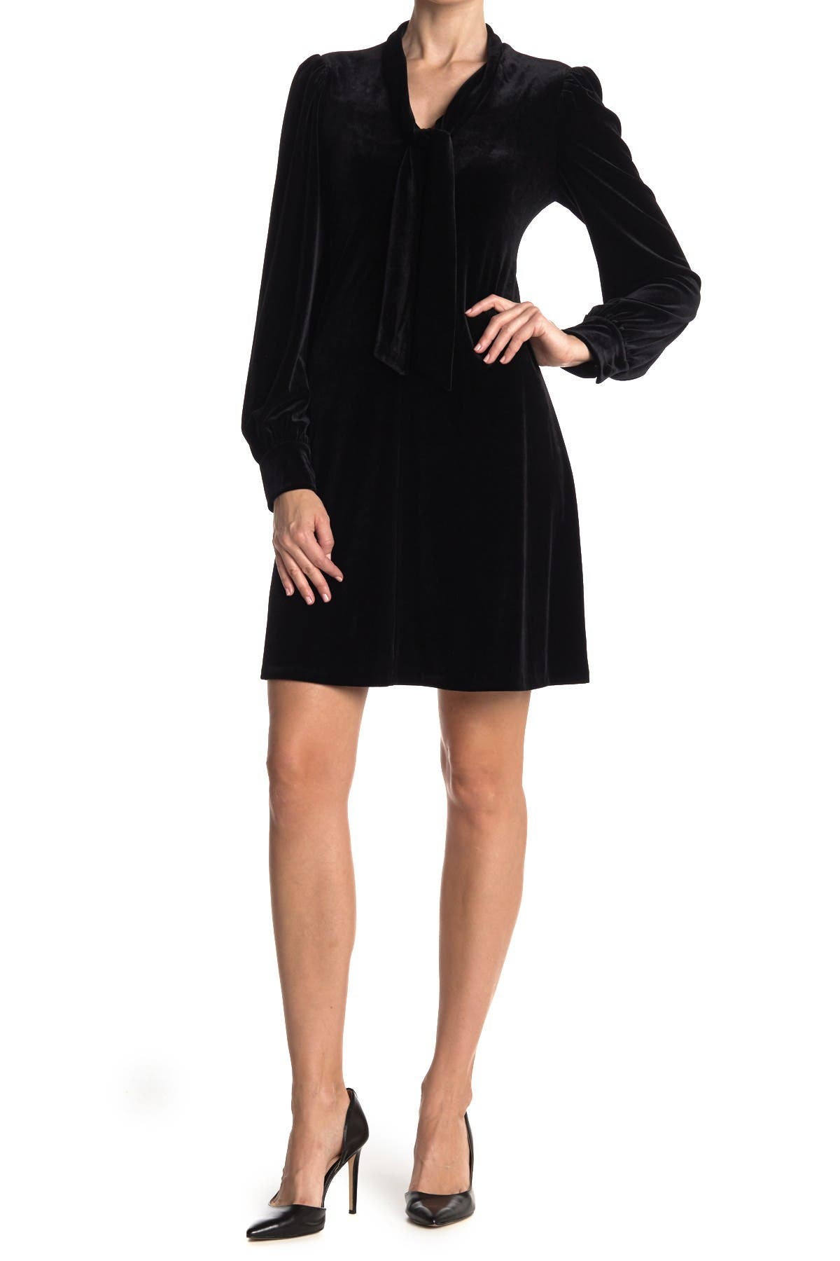 Image of Calvin Klein Velvet Tie Neck Long Sleeve Shift Dress
