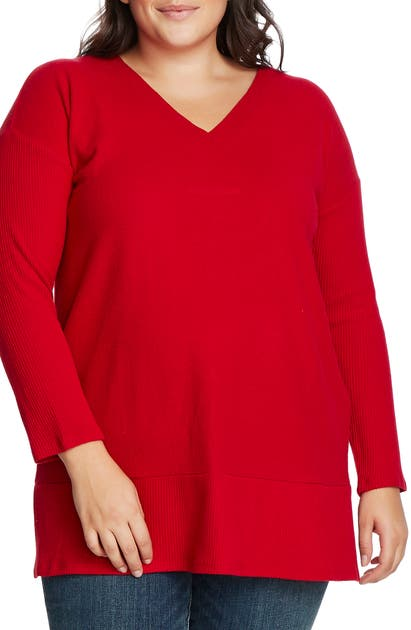 Vince Camuto Sweaters RIBBED SLEEVE V-NECK TUNIC SWEATER