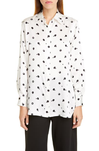 Rosetta Getty T-shirts DOT PRINT SILK CHARMEUSE SHIRT