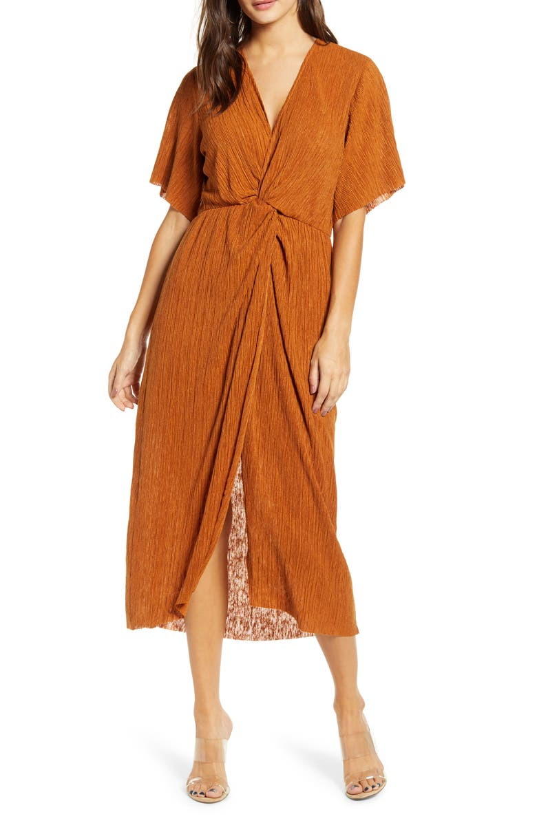 ALL IN FAVOR Dolman Plissé Midi Dress, Main, color, RUST