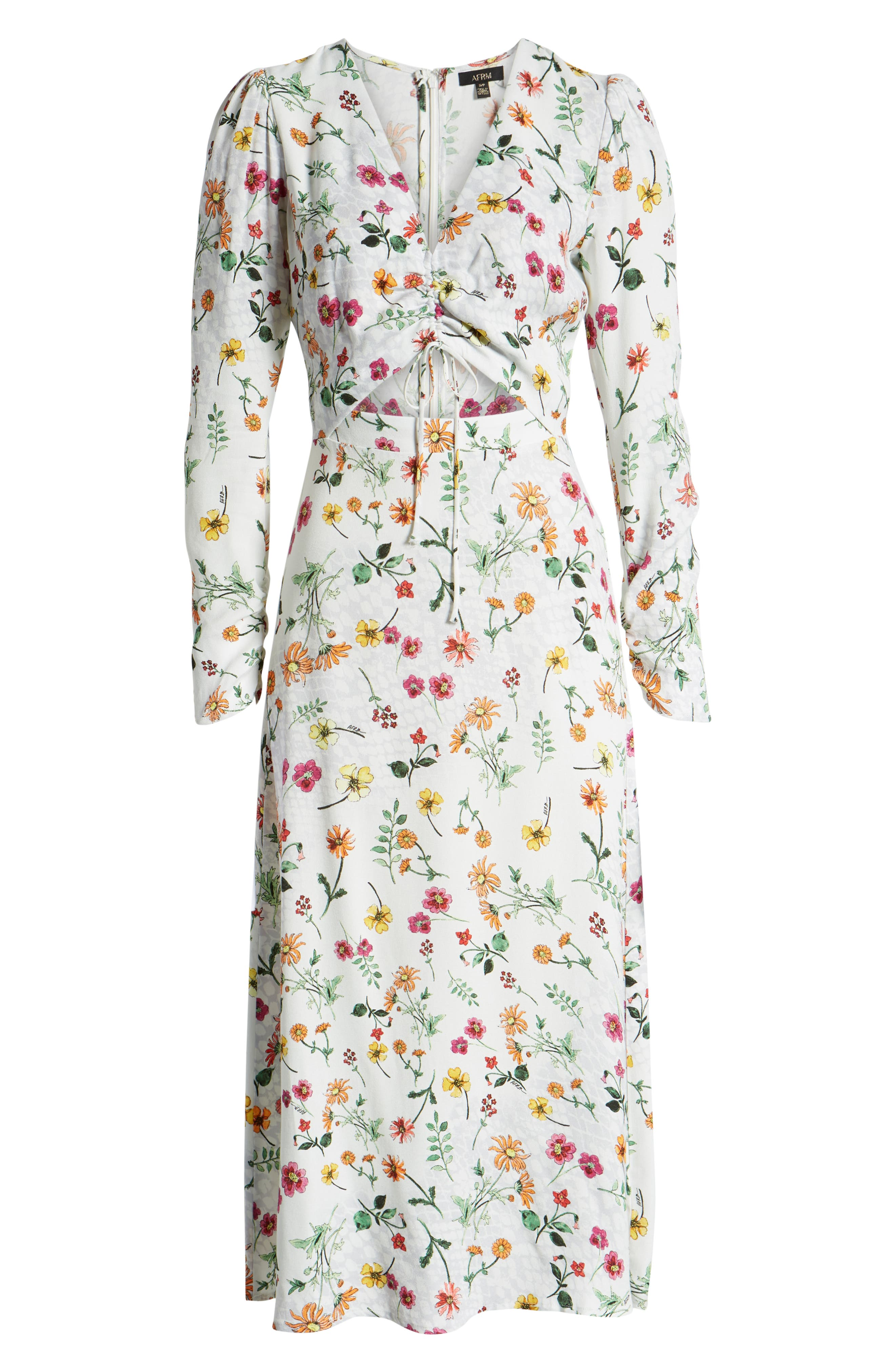,                             Carlo Cinched Front Midi Dress,                             Alternate thumbnail 7, color,                             PRINTEMPS FLORAL