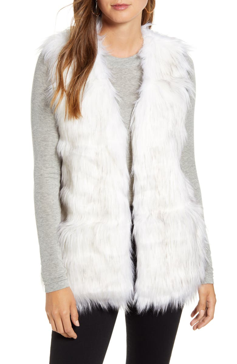 RACHEL PARCELL Faux Fur Vest, Alternate, color, WHITE