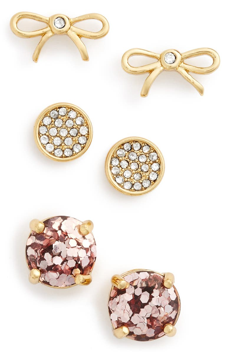 KATE SPADE NEW YORK bow & round stud earrings, Main, color, 650