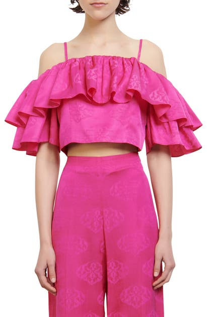Sandro RUFFLE COLD SHOULDER CROP TOP