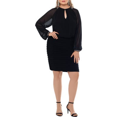 Plus Size Xscape Long Sleeve Scuba Crepe Cocktail Dress, Black
