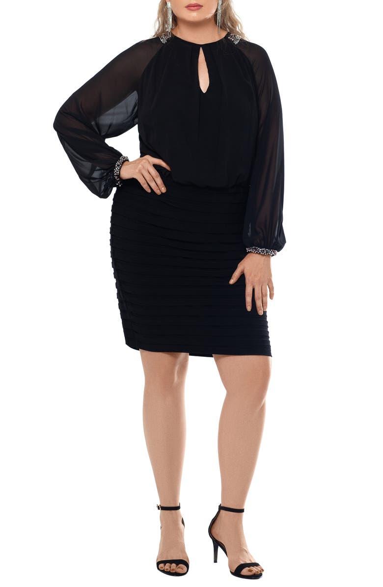 XSCAPE Rhinestone Cuff Long Sleeve Cocktail Dress, Main, color, BLACK/ SILVER/ GUN