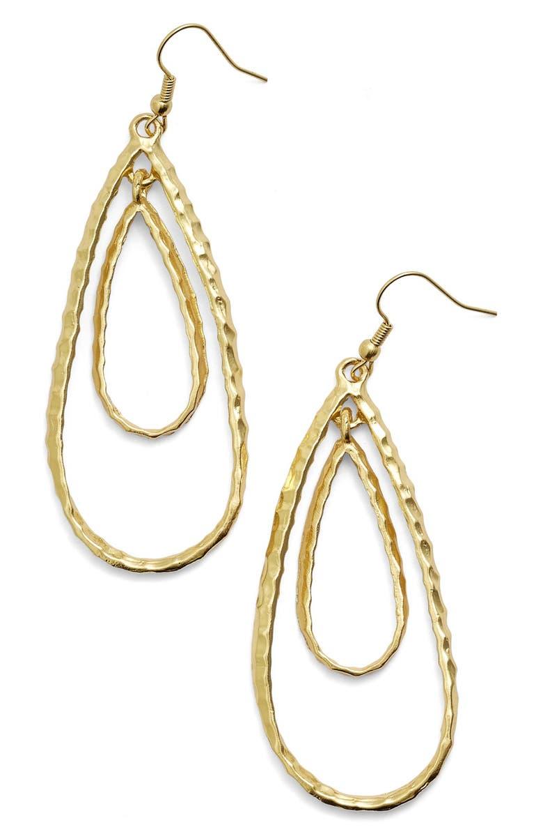 KARINE SULTAN Double Teardrop Link Drop Earrings, Main, color, GOLD