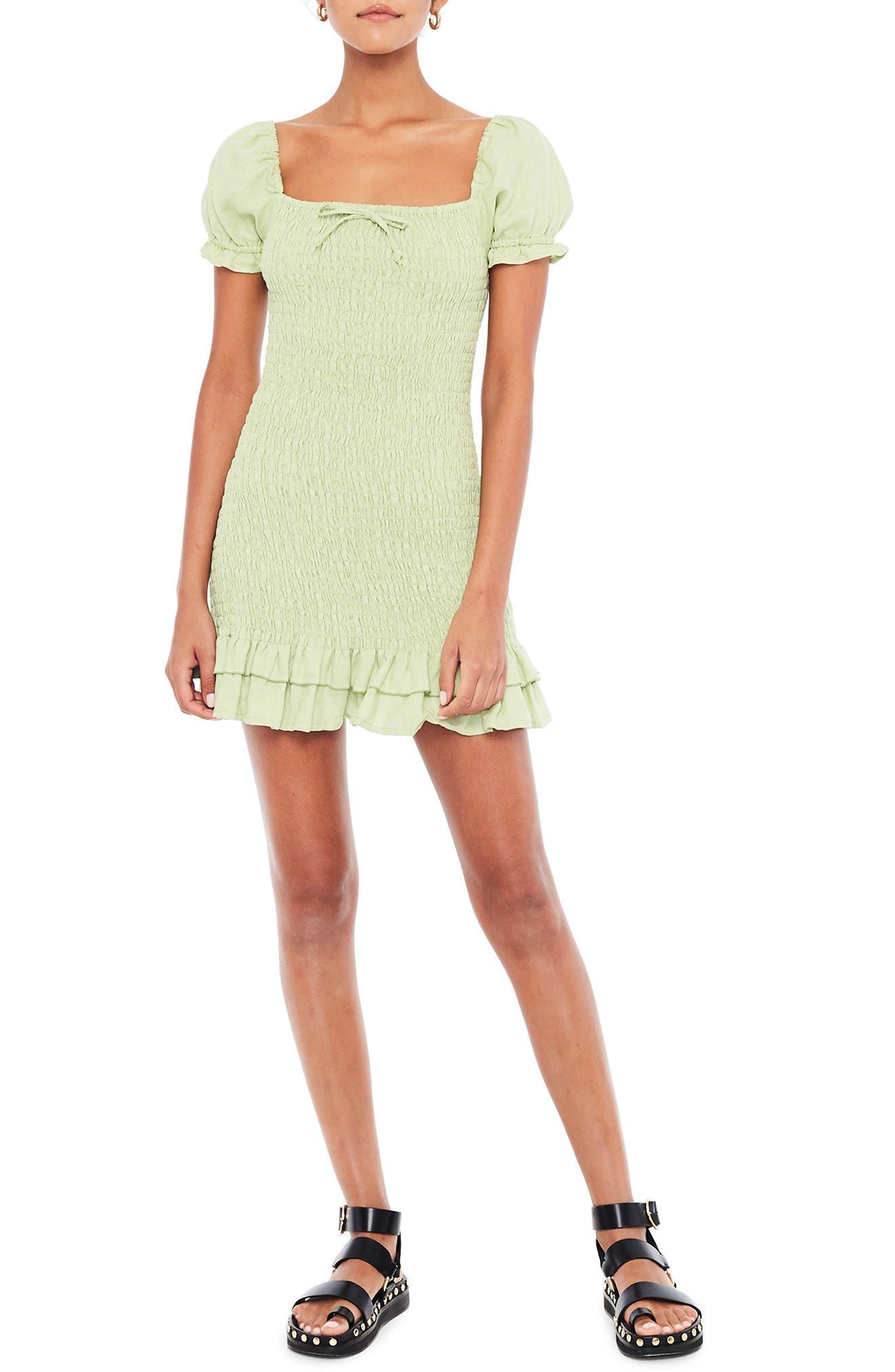 Faithfull The Brand Cette Smocked Linen Minidress, Green