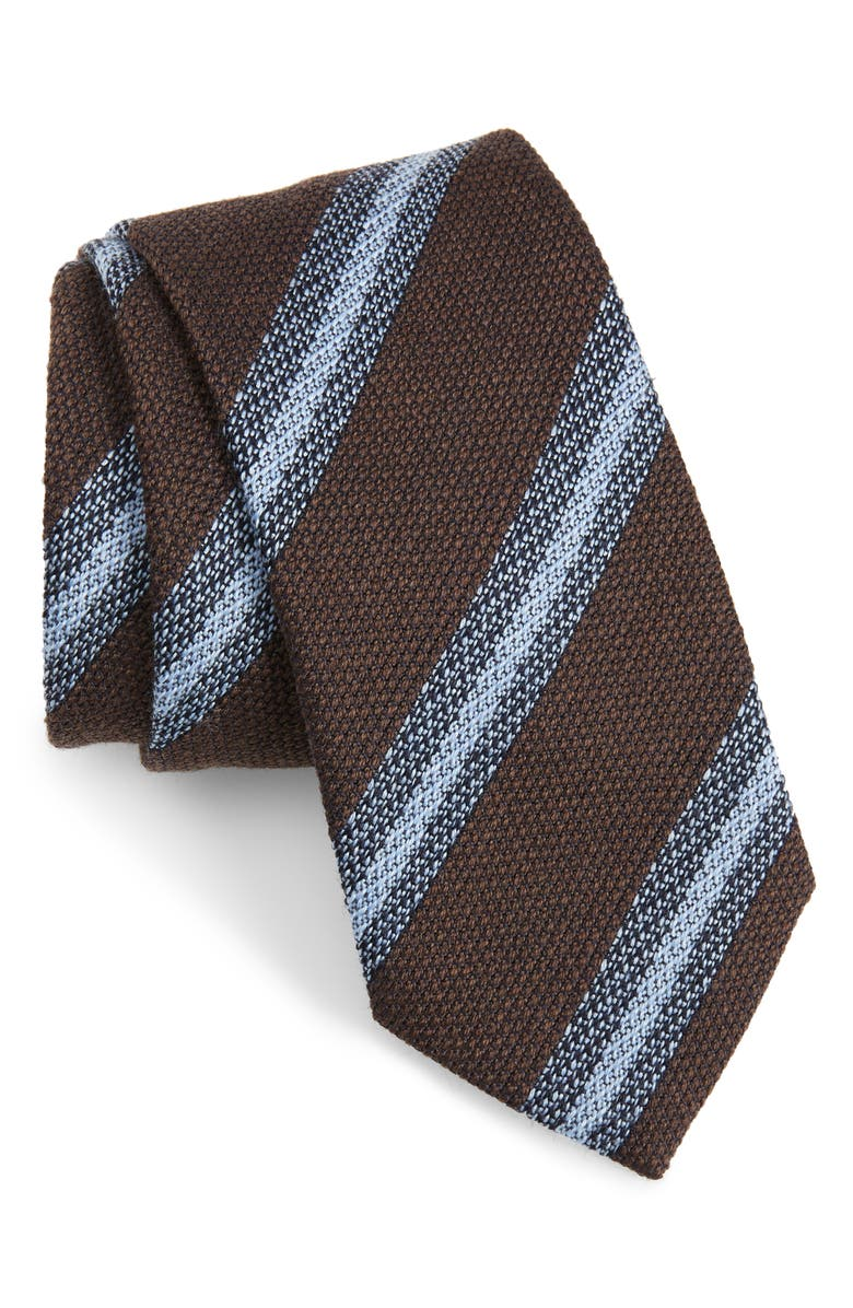 BRIONI Knit Stripe Silk Tie, Main, color, BROWN