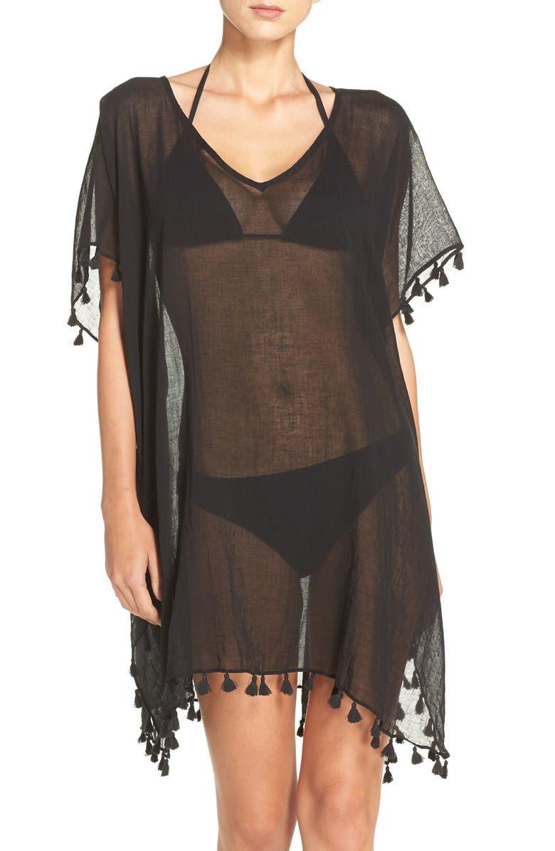 SEAFOLLY 'Amnesia' Cotton Gauze Cover-Up Caftan, Main, color, BLACK