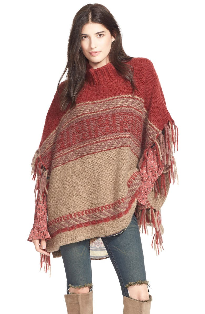 FREE PEOPLE 'Labyrinth' Stripe Colorblock Poncho, Main, color, 250