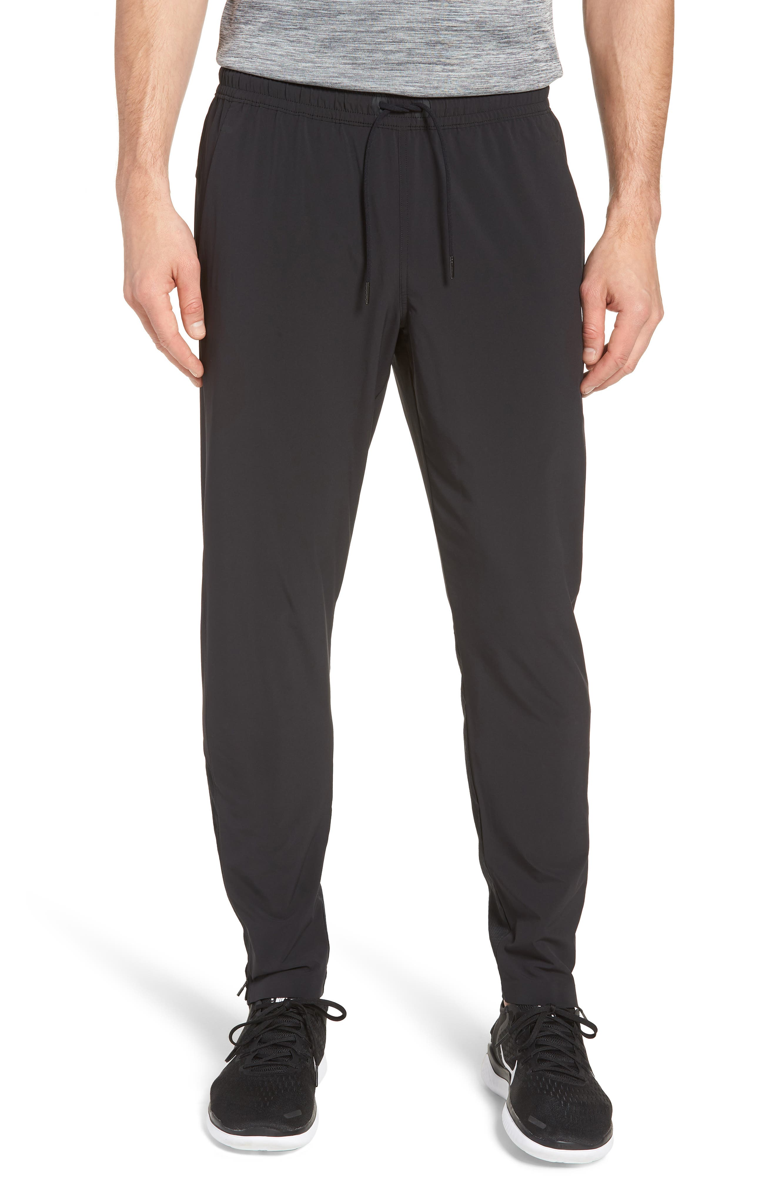Graphite Tapered Athletic Pants, Main, color, BLACK