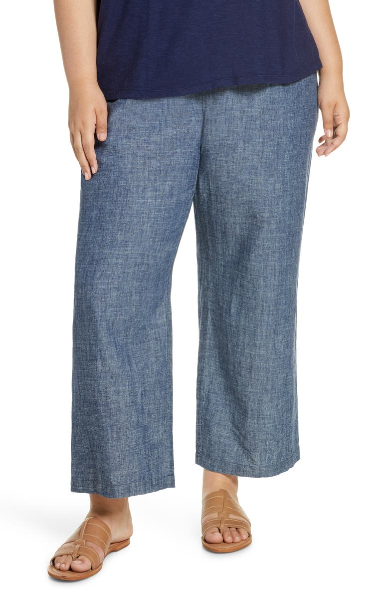 EILEEN FISHER Straight Leg Chambray Pants, Main, color, DENIM