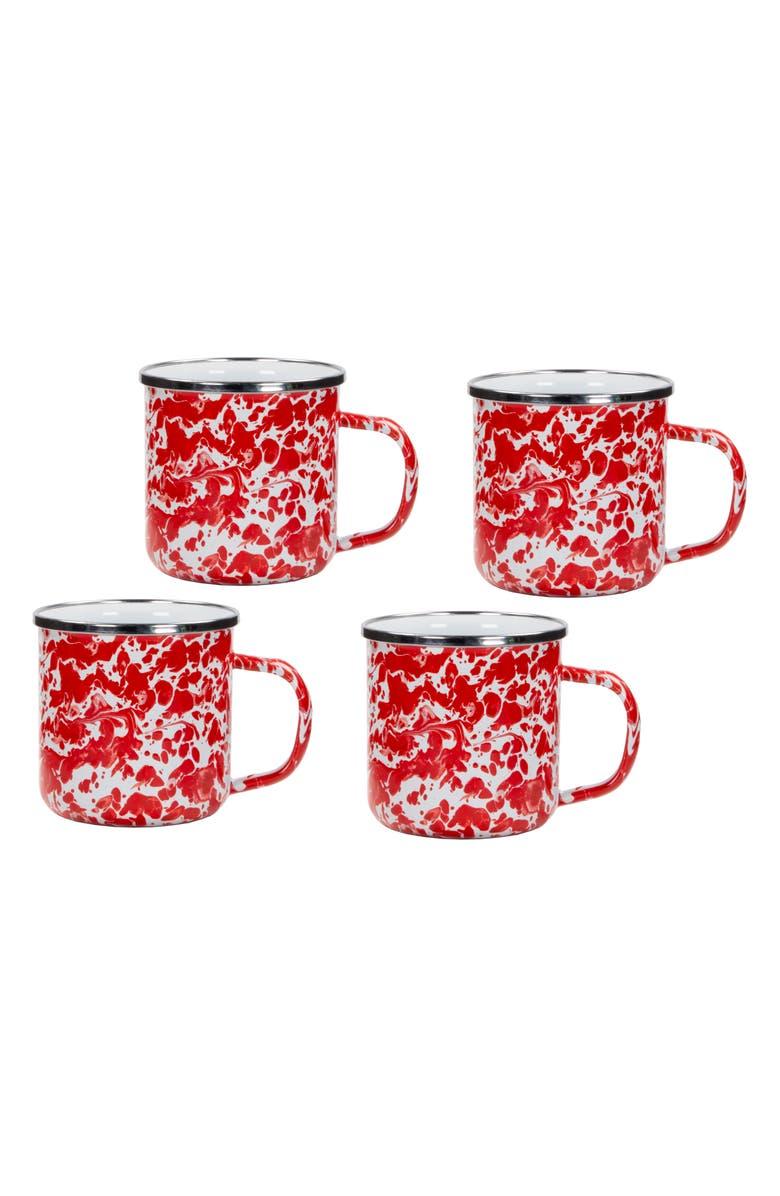 GOLDEN RABBIT Enamelware Set of 4 Enameled Mugs, Main, color, RED SWIRL
