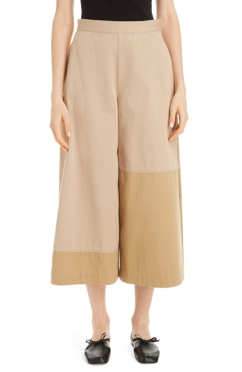 LOEWE Side Pleat Cotton Culottes, Main, color, BEIGE/ CAMEL