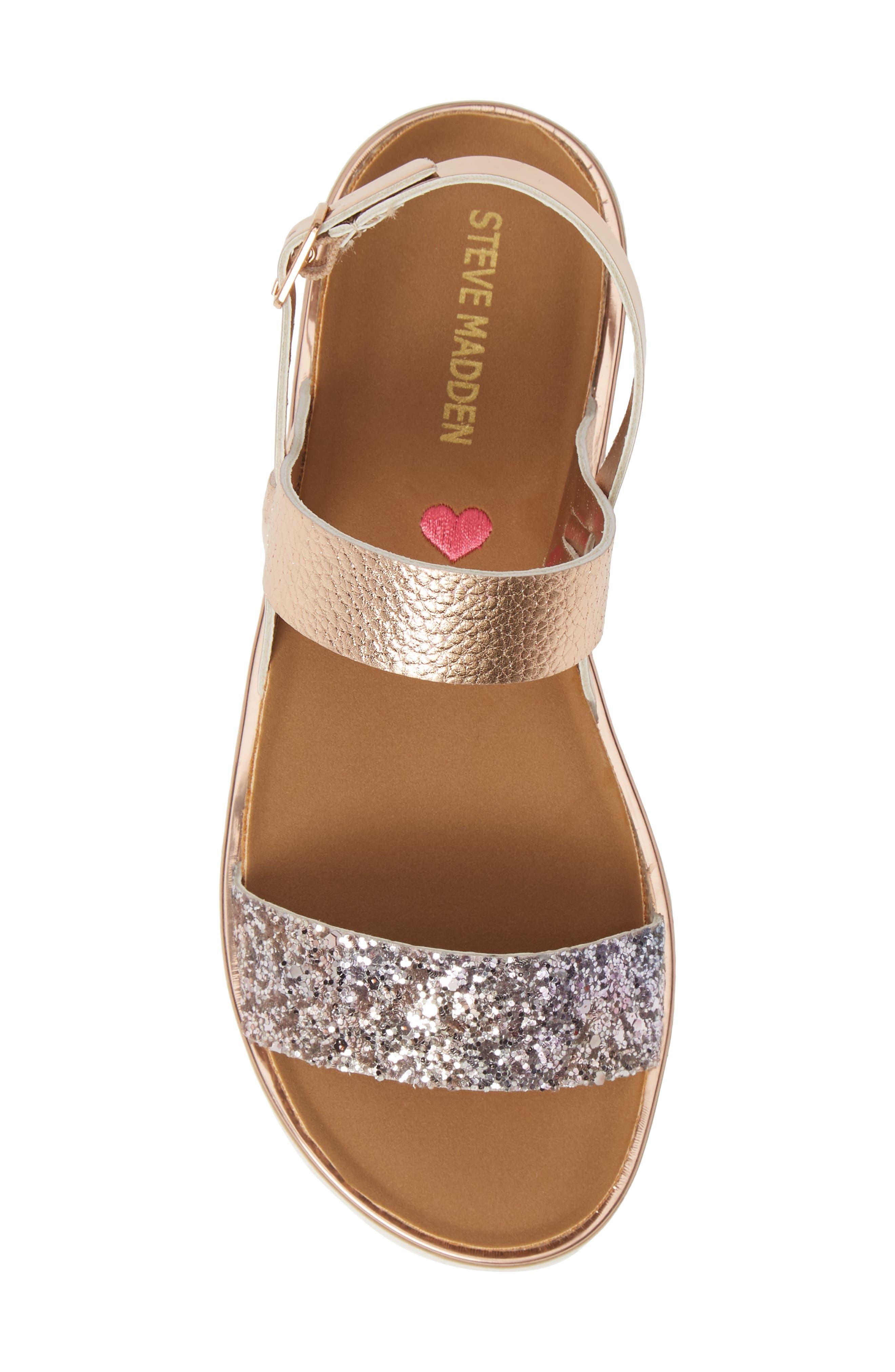 ,                             Jslim Glitter Sandal,                             Alternate thumbnail 5, color,                             ROSE GOLD
