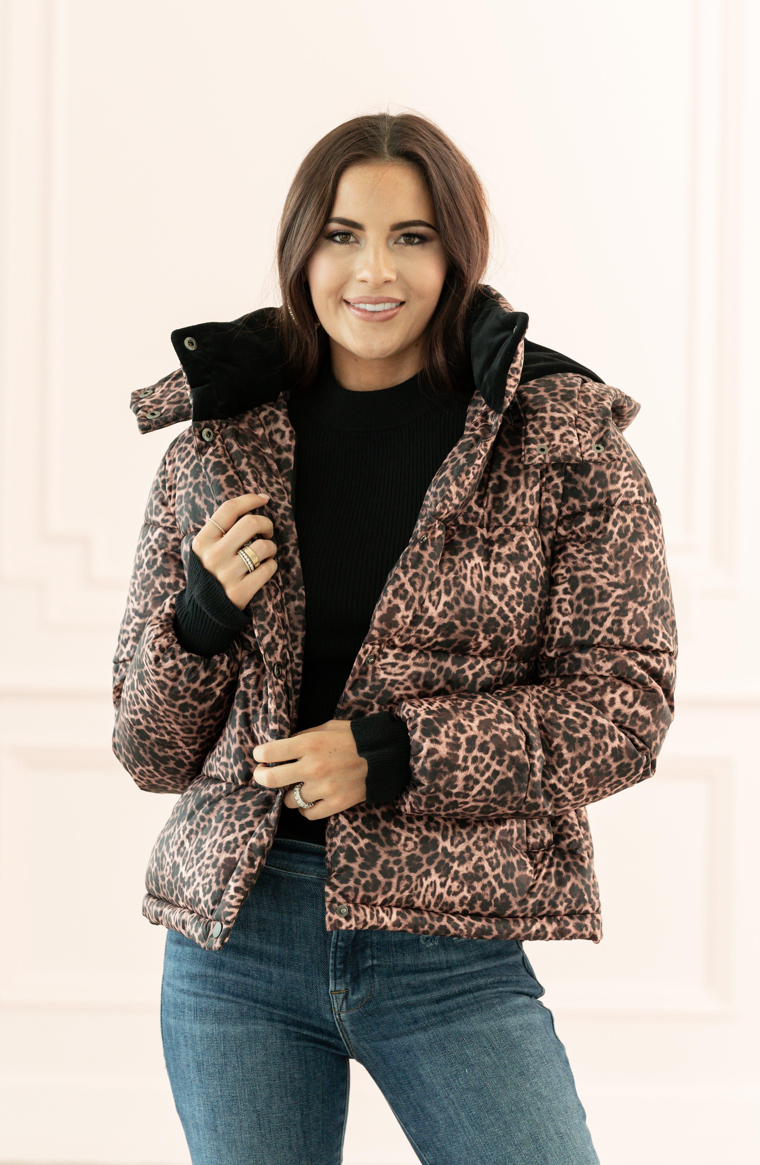 Rachel Parcell Leopard Print Puffer Jacket (Nordstrom Exclusive)