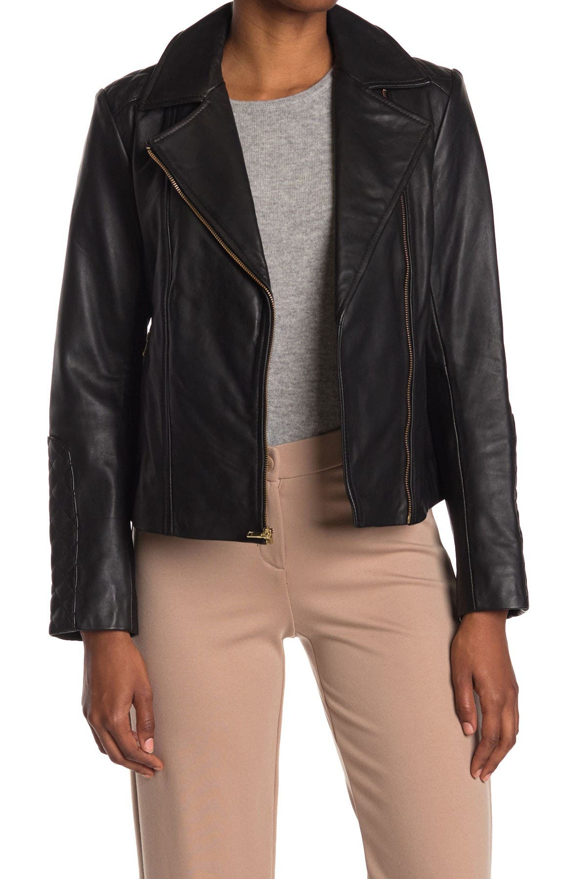 Image of Cole Haan Leather Quilt Trim Moto Jacket