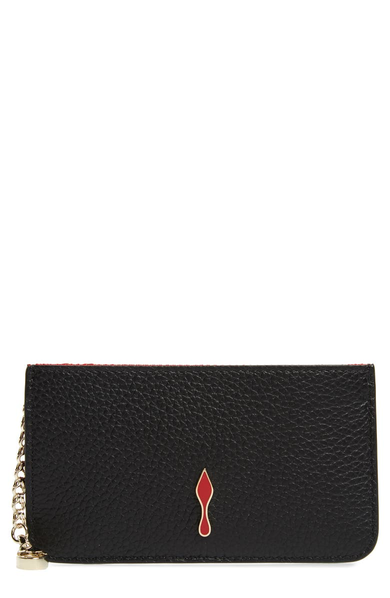 CHRISTIAN LOUBOUTIN Credilou Calfskin Leather Card Case, Main, color, 001
